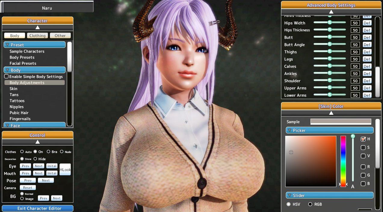 Es también el primer juego japonés que veo incluir opciones para el trasero.